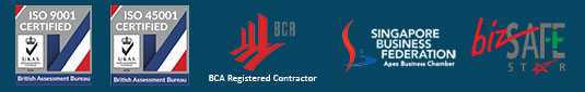 Row of prestigious awards earned by Brooklynz stainless steel fabrication company Singapore from BCA, BizSafeStar, Singapore Business Federation and British Assessment Bureau