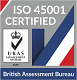 Logo of British Assessment Bureau who awarded ISO 45001 certification to Brooklynz metal fabrication Singapore