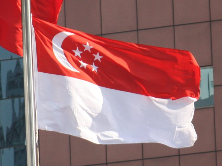 Waving national flag of Singapore on a flag pole by the best supplier, Brooklynz Singapore
