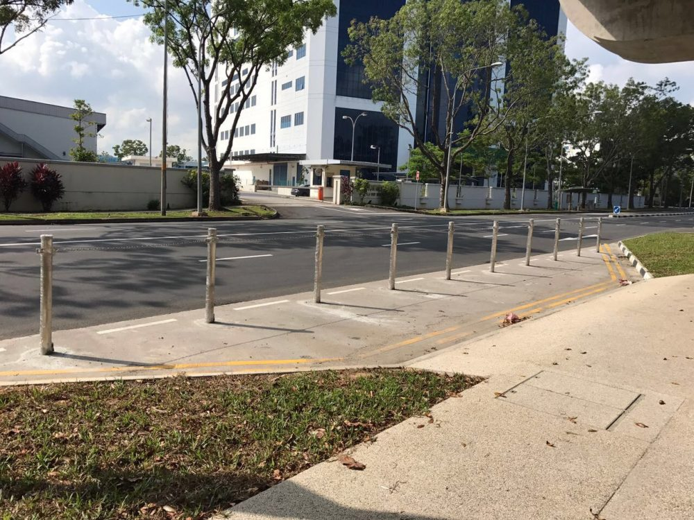 Security k4 removable bollards beside a road in Singapore