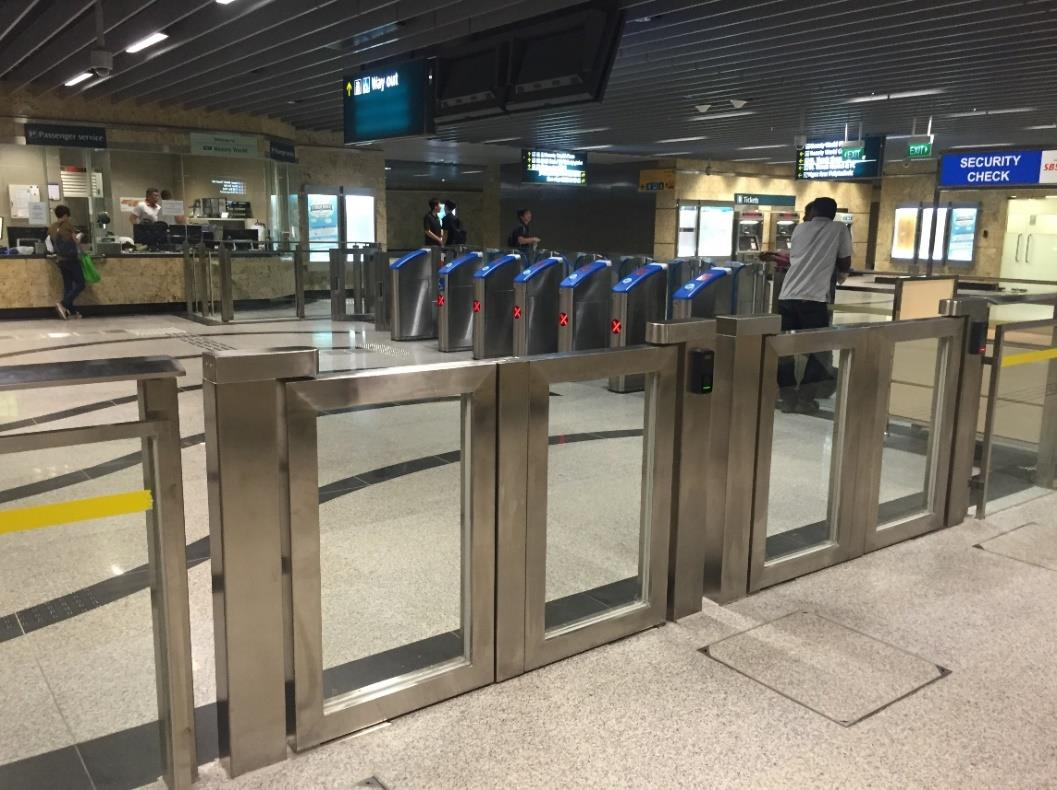 Premium MRT low gates installed at a station in Singapore by Brooklynz