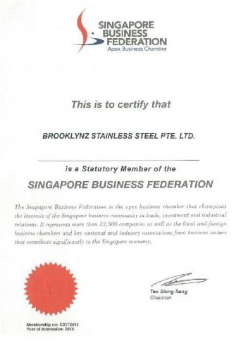 A digital copy of Statutory Member of the Singapore Business Federation certificate issued by Singapore Business Federation