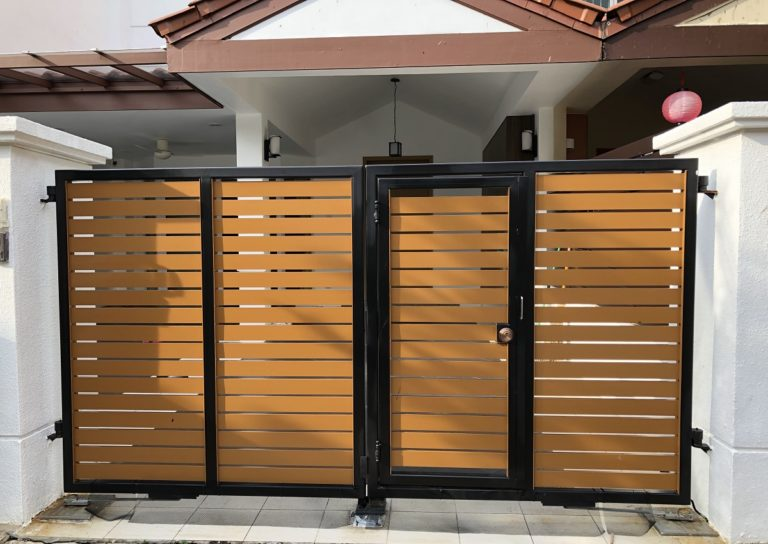Quality, automatic home gate opening system painted yellow and black in Singapore