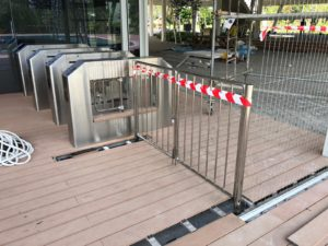 Automatic driveway gates installed at public place by Singapore stainless stee company