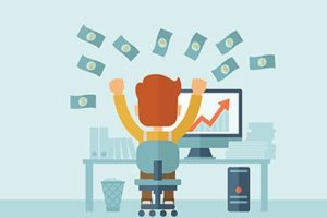 Picture depicting an excited man sitting in front of office desk viewing the market graph with money flying in air