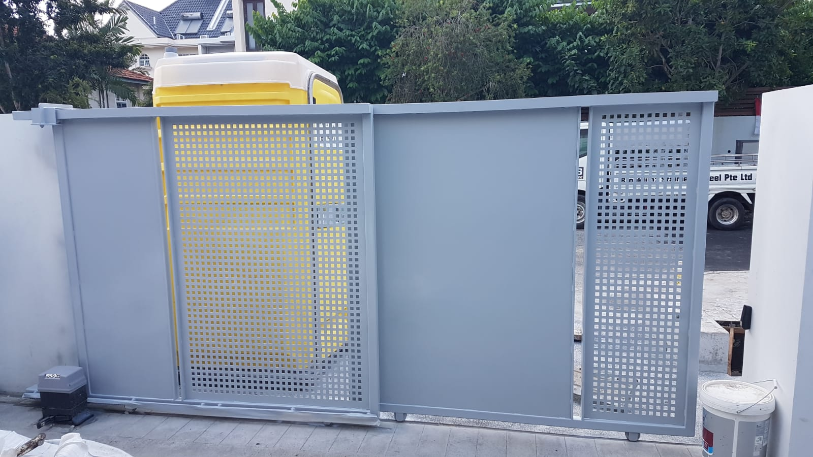 Great exterior mild steel gate in blue crafted by Brooklynz Singapore